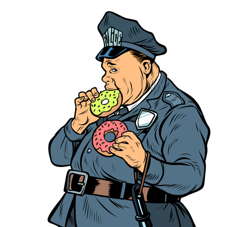 cop eats donut. isolate on white background. Pop art retro vector illustration kitsch vintage
