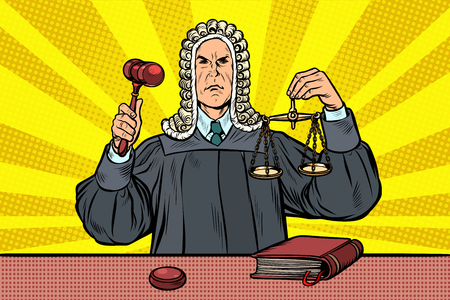 judge with a hammer. scales of justice. Pop art retro vector illustration kitsch vintage Çizim