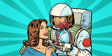 Couple in love. Astronaut gives a woman the Earth. Pop art retro vector illustration drawing kitsch vintage Çizim