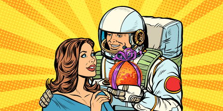 Couple in love. Astronaut gives a woman Mars. Pop art retro vector illustration drawing kitsch vintage Illustration
