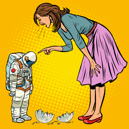 Woman scolds astronaut. The guilty destroyed moon. Pop art retro vector illustration vintage kitsch