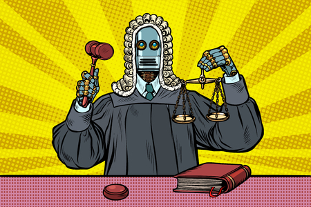 robot judge in robes and wig. Pop art retro vector illustration vintage kitsch Illustration