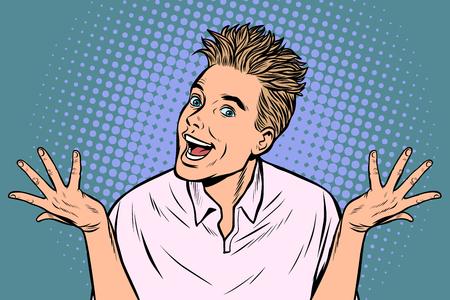 joyful young man. Pop art retro vector illustration vintage kitsch Illusztráció