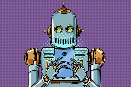 robot looks at the smartphone. Pop art retro vector illustration vintage kitsch