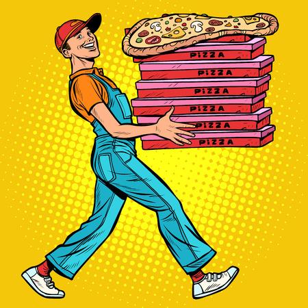 young man pizza boy, food delivery. Pop art retro vector illustration vintage kitsch