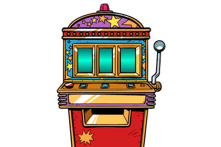 einarmiger Bandit-Spielautomat. Pop-Art Retro-Vektor-Illustration Vintage-Kitsch