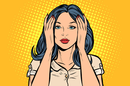 woman covered her ears. Pop art retro vector illustration vintage kitsch