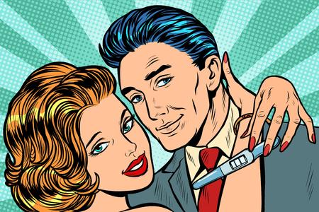 couple amoureux câlin test de grossesse. Pop art rétro vector illustration kitsch vintage