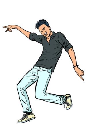 modern young man dancing. Pop art retro vector illustration vintage kitsch