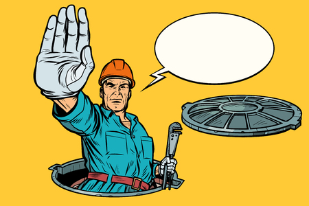 gesture stop. Plumber in the manhole. Pop art retro vector illustration kitsch vintage Reklamní fotografie - 117139698