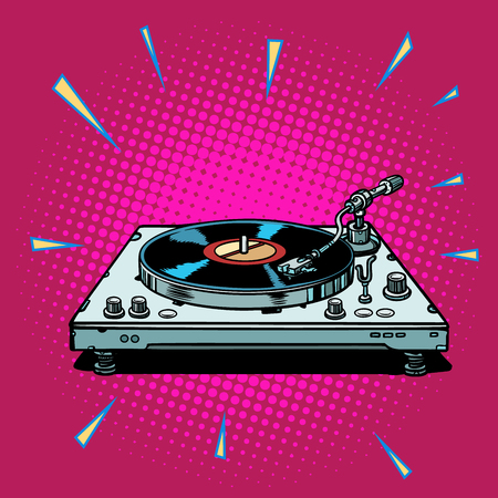 vinyl record player. Pop art retro vector illustration vintage kitsch Ilustração