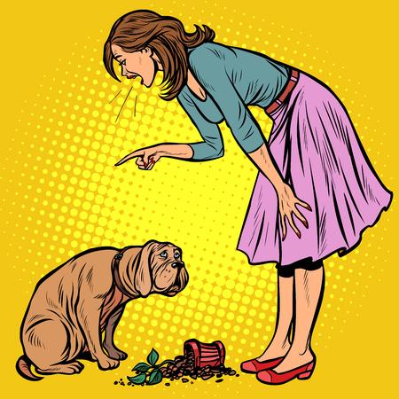 Vrouw scheldt schuldige hond uit. Gebroken pot met bloem. Popart retro vector illustratie vintage kitsch