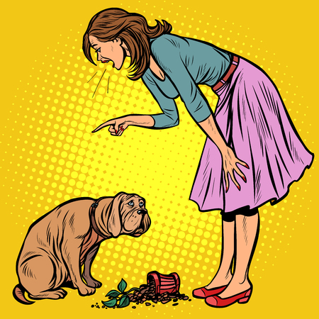 Woman scolds guilty dog. Broken pot with flower. Pop art retro vector illustration vintage kitsch