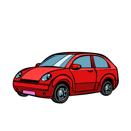 red car, road transport. Isolate on white background. Pop art retro vector illustration drawing kitsch vintage 向量圖像