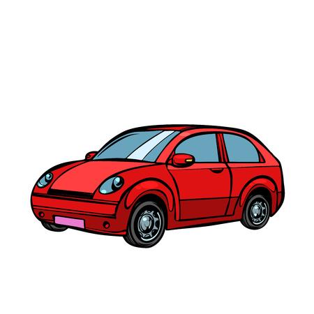 red car, road transport. Isolate on white background. Pop art retro vector illustration drawing kitsch vintage Illustration