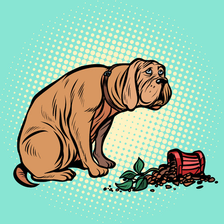 Bad dog broke a potted houseplant. Pop art retro vector illustration vintage kitsch Ilustração