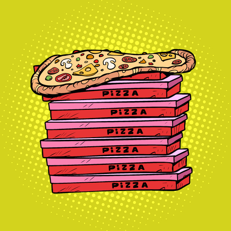 pizza box a lot. Pop art retro vector illustration vintage kitsch