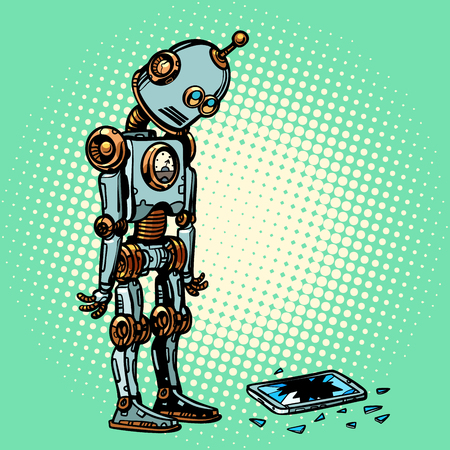 Robot and broken phone screen. Pop art retro vector illustration vintage kitsch