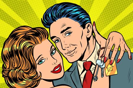 pareja de enamorados, regalo de llaves de casa. Pop art retro vector ilustración vintage kitsch