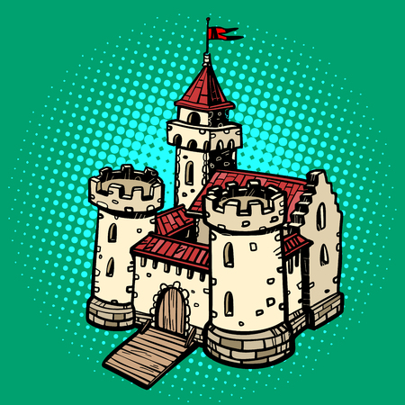medieval castle, fairy kingdom. real estate. Pop art retro vector illustration drawing kitsch vintage