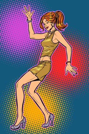 girl in sexy dress, woman disco dance. Pop art retro vector illustration vintage kitsch 50s 60s Illustration