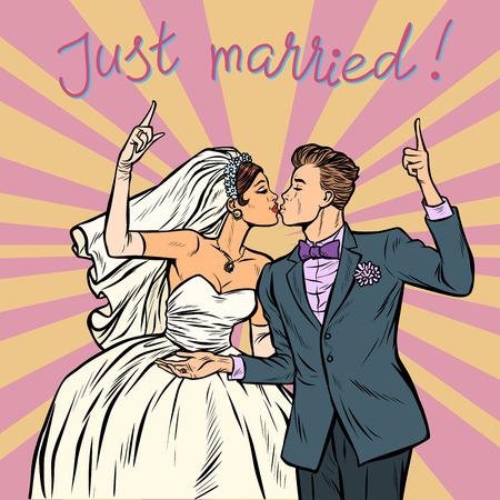 mariée et le marié, couple de mariage vient de se marier. Pop art retro vector illustration kitsch vintage des années 50 60