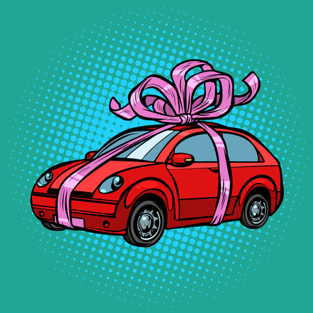 car gift, transport tied with festive ribbons. Pop art retro vector illustration drawing kitsch vintage  イラスト・ベクター素材