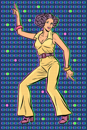 girl in pantsuit. woman disco dance. Pop art retro vector illustration vintage kitsch 50s 60s Stock Illustratie