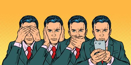 Non vedere dire look, concetto di comunicazione smartphone. Pop art retrò illustrazione vettoriale vintage kitsch anni '50 anni '60