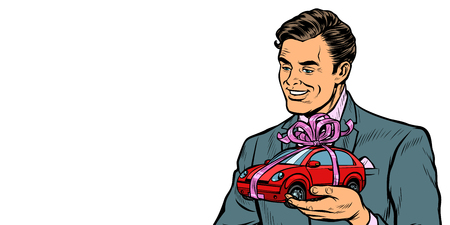Businessman gives a gift, selling cars. Isolate on white background. Pop art retro vector illustration drawing kitsch vintage