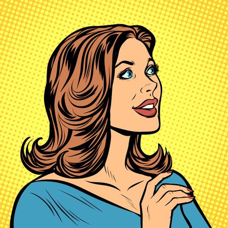 schöne Frau im Profil. Pop-Art Retro-Vektor-Illustration Zeichnung Kitsch Vintage