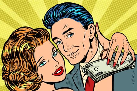 couple amoureux, cadeau de salaire en argent. Pop art rétro vector illustration kitsch vintage Vecteurs