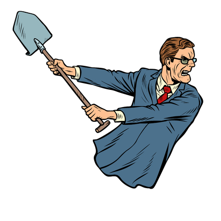 businessman with a shovel. Pop art retro vector illustration kitsch vintage