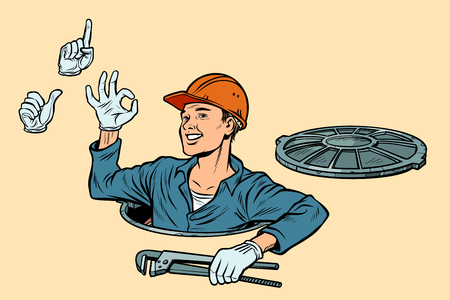 Plumber in the manhole. set of gestures okay attention like. Pop art retro vector illustration kitsch vintage Banque d'images - 118084338