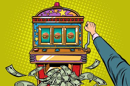 Machine à sous Prix Burger. Pop art rétro vector illustration kitsch vintage