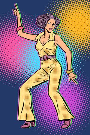 girl in pantsuit. woman disco dance 80s background. Pop art retro vector illustration vintage kitsch 50s 60s