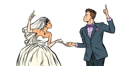 mariée et le marié, couple de mariage. Pop art retro vector illustration kitsch vintage des années 50 60