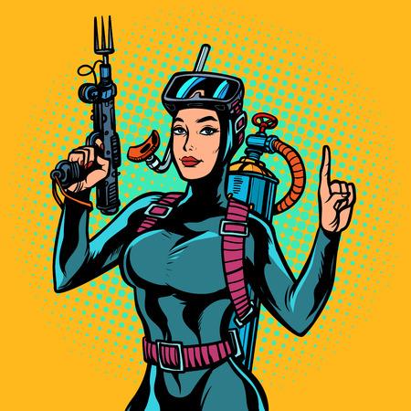 Aquafrauentaucher speerfischen Gewehr. Pop-Art Retro-Vektor-Illustration Vintage-Kitsch Vektorgrafik