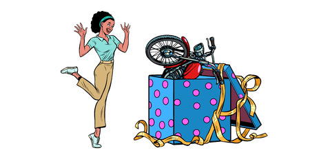 motorcycle holiday gift box. African woman funny reaction joy. isolate on white background. Pop art retro vector illustration vintage kitsch 50s 60s Иллюстрация