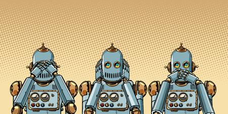 Roboter. Ich sehe nichts, höre nichts, sage nichts. Pop-Art Retro-Vektor-Illustration Vintage-Kitsch