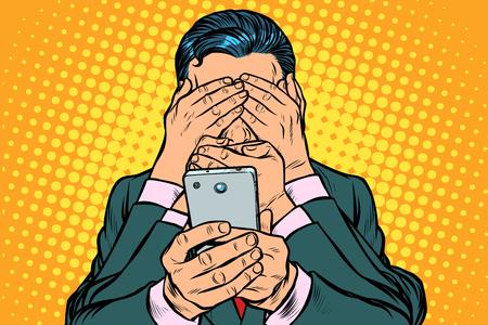 Concetto di censura di Internet. uomo con smartphone. Pop art retrò illustrazione vettoriale vintage kitsch