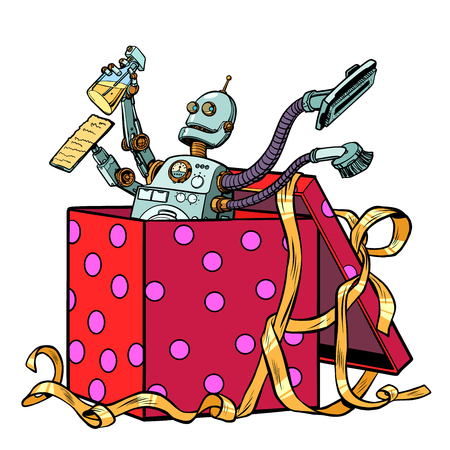 Robot gift cleaning company vacuum cleaner Illustration