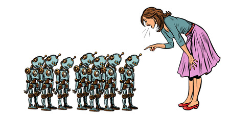 learning artificial intelligence concept, woman swears at small robots