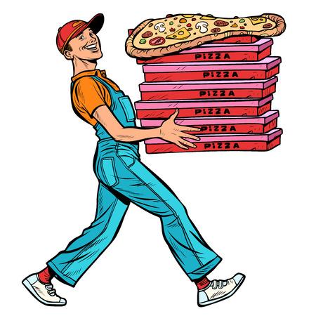 jeune homme pizzaiolo, livraison de nourriture. Isoler sur fond blanc Pop art retro vector illustration kitsch vintage