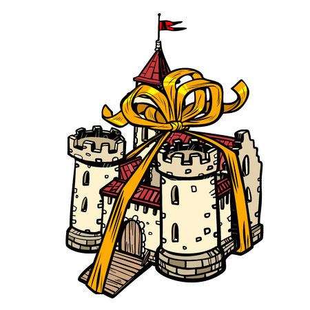 gift ribbon medieval castle, fairy kingdom. isolate on white background
