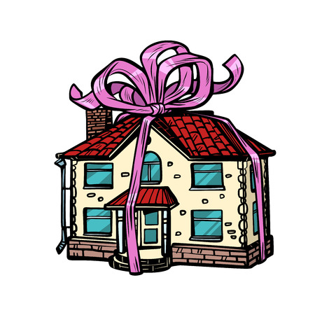 house gift, real estate. in the festive tape. isolate on white background. Pop art retro vector illustration drawing kitsch vintage 일러스트