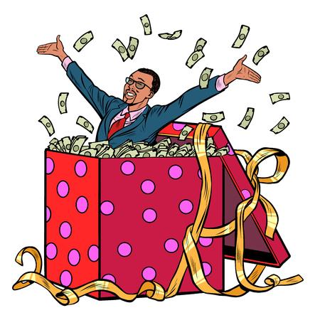 gift. African businessman with money. Pop art retro vector illustration kitsch vintage