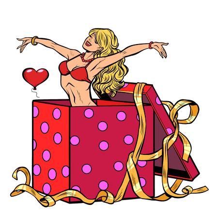regalo di sorpresa di striptease della donna. Pop art retrò illustrazione vettoriale kitsch vintage Vettoriali