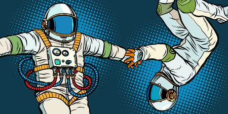 a couple in love, astronauts holding hands. Pop art retro vector illustration kitsch vintage