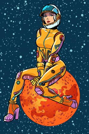 red planet Mars sexy beautiful woman astronaut. Pop art retro vector illustration kitsch vintage Illustration